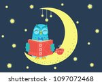 sweet charming owl reading book ... | Shutterstock .eps vector #1097072468