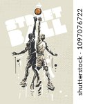 Streetball Players In A Jump....