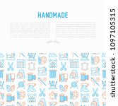 handmade concept with thin line ... | Shutterstock .eps vector #1097105315