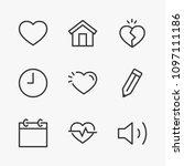 set heart line icon stock...   Shutterstock .eps vector #1097111186