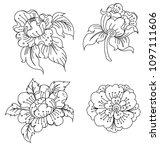 peony flower line thai style... | Shutterstock .eps vector #1097111606