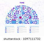 time concept in half circle... | Shutterstock .eps vector #1097111732