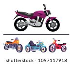 motorized bicycles collection ... | Shutterstock .eps vector #1097117918