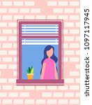 woman stands near open window ... | Shutterstock .eps vector #1097117945