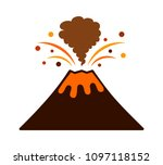 volcano eruption with lava and... | Shutterstock .eps vector #1097118152