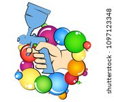 pulverizer in hand and color... | Shutterstock .eps vector #1097123348