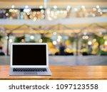 computer laptop on brown wooden ... | Shutterstock . vector #1097123558