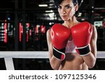 young athlete woman in boxing... | Shutterstock . vector #1097125346