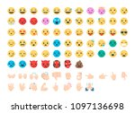 face and hand emoji icon set.... | Shutterstock .eps vector #1097136698
