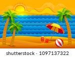 paper art cut out style summer... | Shutterstock . vector #1097137322