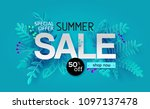 summer sale banner with paper... | Shutterstock . vector #1097137478