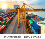 aerial view of ship cargo... | Shutterstock . vector #1097149166
