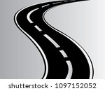 an asphalt curvy highway road... | Shutterstock .eps vector #1097152052
