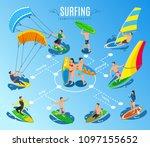 surfing isometric flowchart... | Shutterstock .eps vector #1097155652