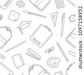gray outline stationery random... | Shutterstock .eps vector #1097158952