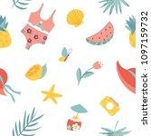 summertime seamless pattern....   Shutterstock .eps vector #1097159732