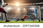 soccer game moment  on... | Shutterstock . vector #1097160308
