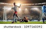 soccer game moment  on... | Shutterstock . vector #1097160392
