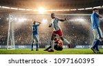 soccer game moment  on... | Shutterstock . vector #1097160395