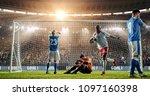 soccer game moment  on... | Shutterstock . vector #1097160398