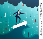the businessman on arrow has...   Shutterstock .eps vector #1097162765