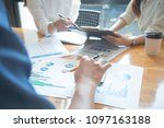 three young business partners... | Shutterstock . vector #1097163188