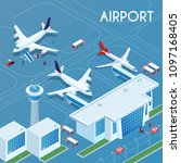 airport outdoor blue background ... | Shutterstock .eps vector #1097168405