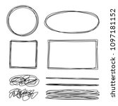 set of tangled grungy scribbles ... | Shutterstock .eps vector #1097181152