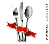 ribbon  spoon  knife and fork... | Shutterstock . vector #1097185715