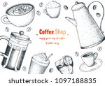 coffee cups  french press ... | Shutterstock .eps vector #1097188835