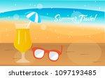 juice orange with sunglasses... | Shutterstock .eps vector #1097193485