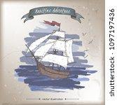 tall ship color sketch.... | Shutterstock .eps vector #1097197436