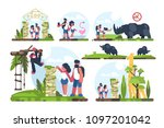 couple of guy and girl walking... | Shutterstock .eps vector #1097201042