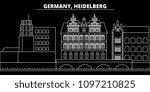 heidelberg silhouette skyline.... | Shutterstock .eps vector #1097210825