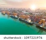 aerial view of ship cargo... | Shutterstock . vector #1097221976
