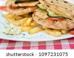 chicken burger with french... | Shutterstock . vector #1097231075