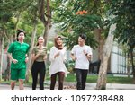 happy young asian people... | Shutterstock . vector #1097238488
