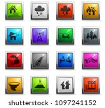 natural disasters web icons in... | Shutterstock .eps vector #1097241152