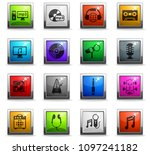 music vector icons in square... | Shutterstock .eps vector #1097241182