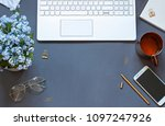 work space flat lay with a... | Shutterstock . vector #1097247926