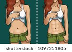 woman's body before and after... | Shutterstock .eps vector #1097251805