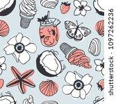 hand drawn summer seamless... | Shutterstock .eps vector #1097262236