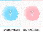 cute vector watercolor splash.... | Shutterstock .eps vector #1097268338