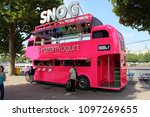 Small photo of London, England, May 23rd 2018: Snog pink bus on the Southbank in London
