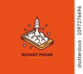 isometric rocket phone logo... | Shutterstock .eps vector #1097276696