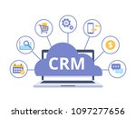 crm concept design with vector... | Shutterstock .eps vector #1097277656
