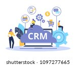 crm concept design with vector... | Shutterstock .eps vector #1097277665