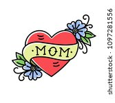 tatoo with mom inscription in...   Shutterstock .eps vector #1097281556