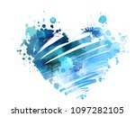 grunge watercolored heart in... | Shutterstock . vector #1097282105