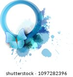 abstract round watercolor frame ... | Shutterstock . vector #1097282396